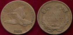 Us Coins - 1858 Lg.Letters 1c FLYING EAGLE VF