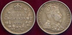 World Coins - CANADA 1908 5 CENT  VF