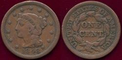 Us Coins - 1848 LARGE 1c FINE