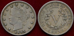 Us Coins - 1897 LIBERTY 5c  VF30