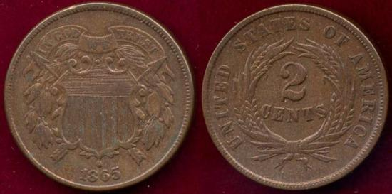 US Coins - 1865  TWO CENT  VF+