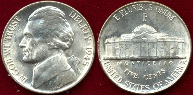 US Coins - 1945-P   Silver   5c  ..... MS65   GEM  UNCIRCULATED