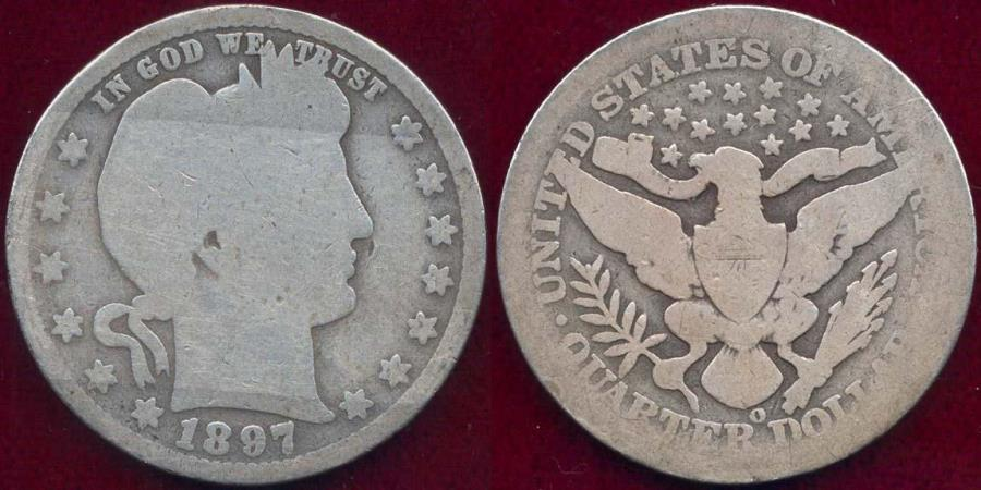 US Coins - 1897-O BARBER 25c  GOOD/AG+