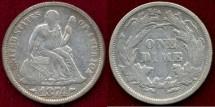 Us Coins - 1874 Arrows  10c  VF