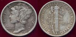 Us Coins - 1918-D MERCURY 10c XF45