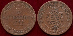 World Coins - SAXONY 1869-B  2 PFENNIG  VF+