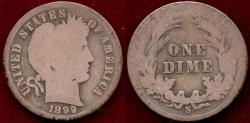 Us Coins - 1899-S  BARBER 10c  GOOD