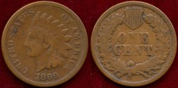 Us Coins - 1869  INDIAN  1c   VERY GOOD