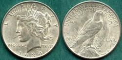 Us Coins - 1934-S $1 ..... CHOICE About UNCIRCULATED
