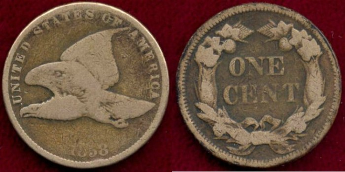 US Coins - 1858 Small Letters 1c ....  GOOD+