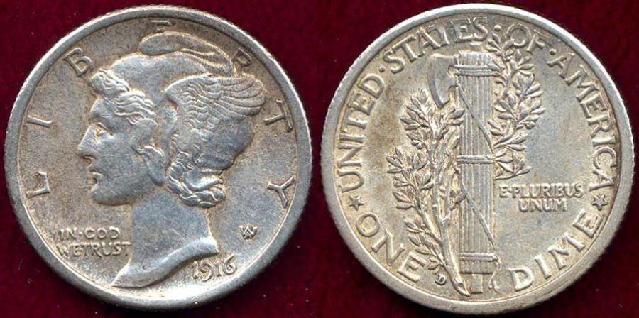 US Coins - 1916-D MERCURY 10c Nice AU  FSB