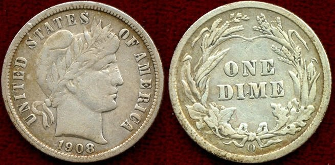 US Coins - 1908-O  BARBER 10c  Choice VERY FINE