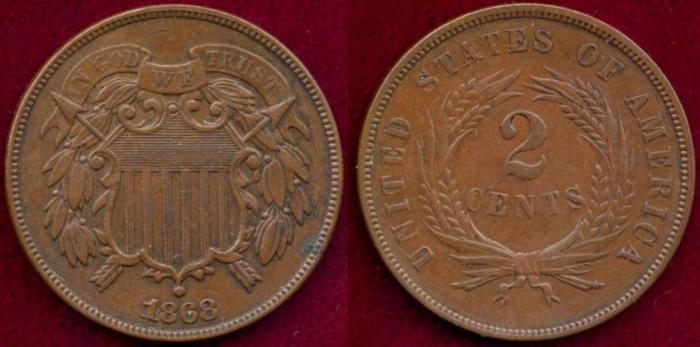 US Coins - 1868  TWO CENT  XF45
