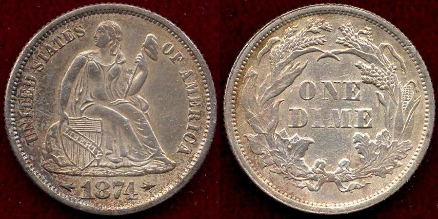 US Coins - 1874 ARROWS at Date  SEATED 10c MS63