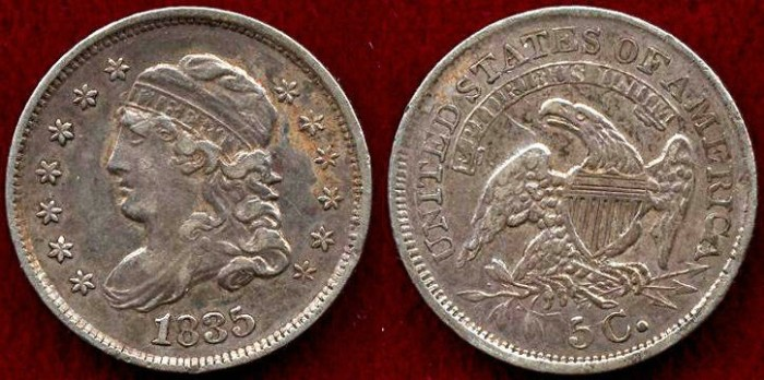 US Coins - 1835 BUST  1/2 DIME  XF45