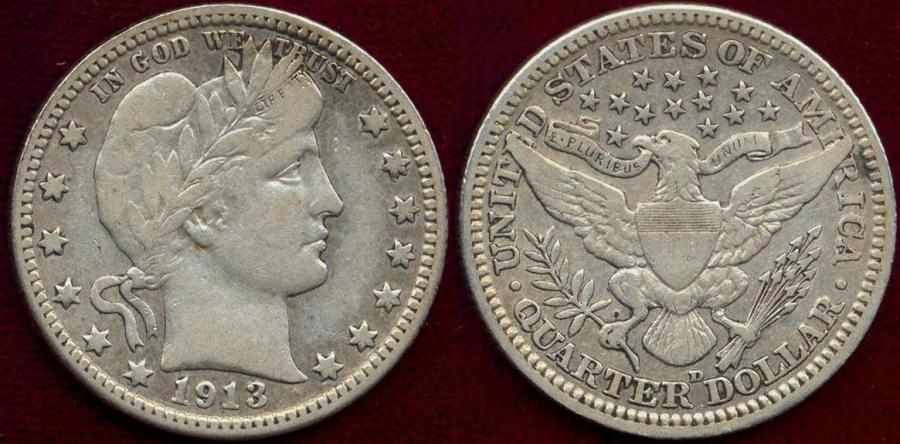 US Coins - 1913-D BARBER 25c VF35