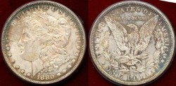 Us Coins - 1880  MORGAN  $1.. PCGS MS63  with pretty colors