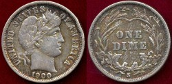Us Coins - 1900-S Barber 10c  XF