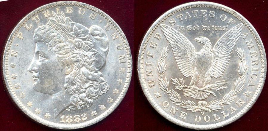 US Coins - 1882-O MORGAN $1 MS63 White