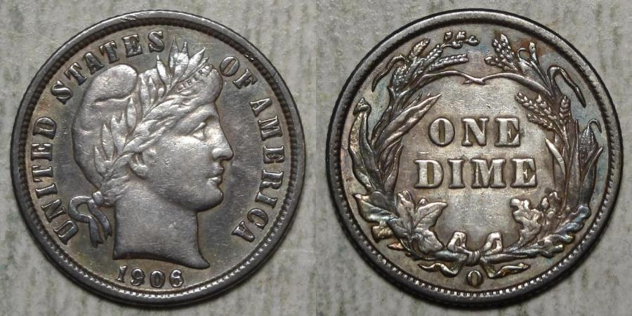 US Coins - 1906-O BARBER 10c AU50  attractive toning