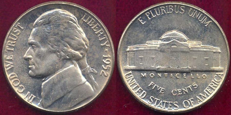 US Coins - 1952 JEFFERSON NICKEL  MS65