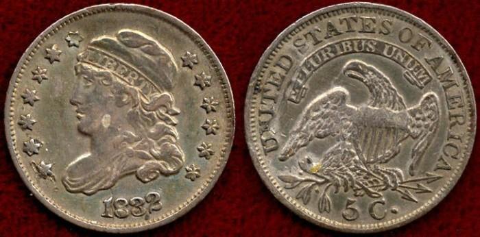 US Coins - 1832 BUST  HALF DIME ..... CHOICE EXTRA FINE