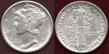 Us Coins - 1920-D MERCURY 10c .... UNCIRCULATED