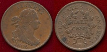 Us Coins - 1806 SM.6, STEMS (RARE VARIETY)  HALF CENT  XF45