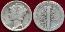 Us Coins - 1921-D  MERCURY 10c   GD+
