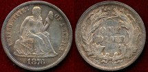 Us Coins - 1876 SEATED 10c  .....  CHOICE Abt. UNCIRCULATED