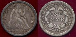 Us Coins - 1853 Arrows  SEATED 10c  XF40