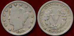 Us Coins - 1912-S LIBERTY 5c .... VERY GOOD