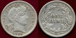 Us Coins - 1905-S  BARBER 10c  XF