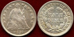 Us Coins - 1857  Seated HALF DIME.......About  UNCIRCULATED