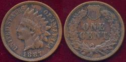 Us Coins - 1887 INDIAN 1c XF