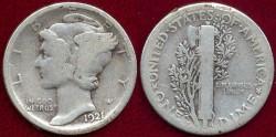Us Coins - 1921-D  MERCURY 10c   GD+
