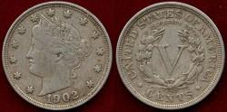 Us Coins - 1902  LIBERTY 5c  near  XF