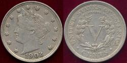 Us Coins - 1902 LIBERTY 5c XF