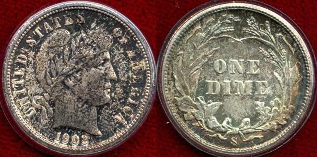 US Coins - 1903-S  BARBER 10c  GEM UNC  PCGS MS63