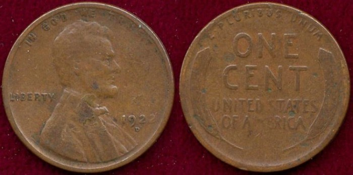 US Coins - 1922-D LINCOLN 1c  GOOD