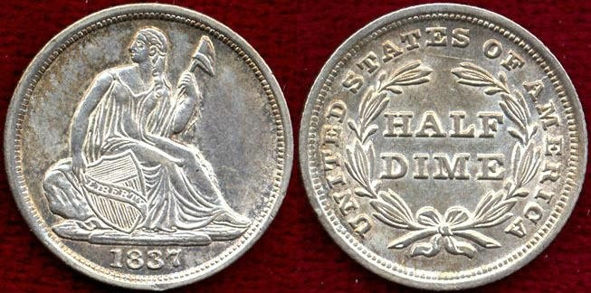US Coins - 1837 No Stars Seated  HALF DIME .......  UNCIRCULATED