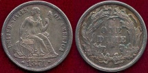 Us Coins - 1874  SEATED 10c  AU58      ARROWS