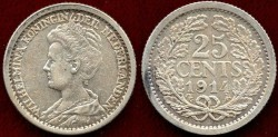 World Coins - NETHERLANDS 1914  25 CENTS....  XF