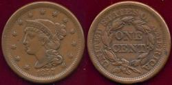 Us Coins - 1857 Small Date LARGE CENT  XF
