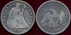 Us Coins - 1846 SEATED DOLLAR  FINE