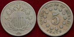 Us Coins - 1868  SHIELD 5c   VG