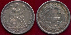 Us Coins - 1874  SEATED 10c  AU58      ARROWS