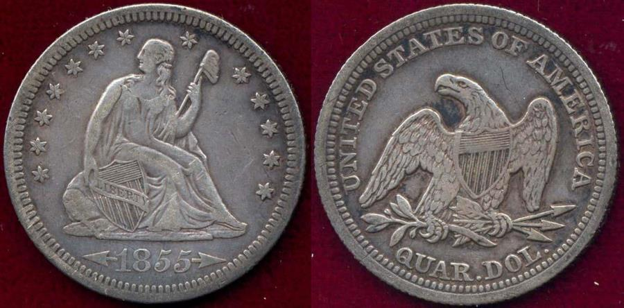 US Coins - 1855 Arrows  SEATED 25c  XF
