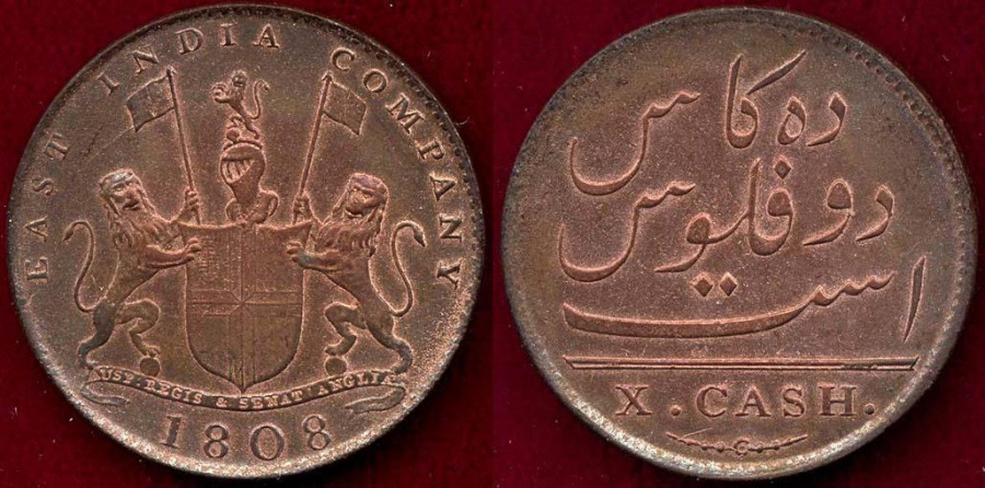 World Coins - EAST INDIA COMPANY 1808 ... 10 CASH   AU