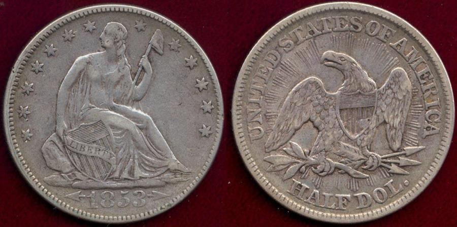 US Coins - 1853 ARROWS & RAYS  50c SEATED   VF35